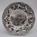 Brown and White Staffordshire Plate in European Scenery Pattern