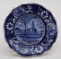 Blue Plate Featuring the Historic ELm and American Historical Patterns