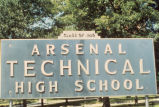 Sign, Arsenal Technical High School, 1500 East Michigan Street, n.d. (Indianapolis, Ind.)