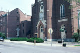 Holy Family Church and School, Main Street, 1981 (Oldenburg, Ind.)