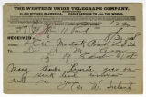 M.W. Ireland telegram to Dr. A. Monae Lesser, August 30, 1898