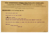Clara Barton telegram to Dr. A. Monae Lesser, April 22, 1899