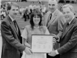 Award presentation for Academic All-American Volleyball Team, 1985