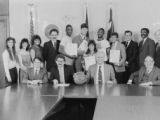 Basketball team visits mayor's office, 1985