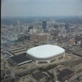 Aerial of Downtown Indianapolis Looking NE, 1983.