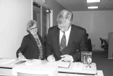 President Myles Brand  Visits Special Collections and Archives, 1995.