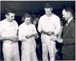Receiving telegrams for internships, 1951