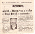 Albert I Hazen's Obituary, 1999