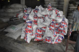 Bags of basic food items ready for distribution