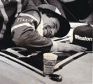 Darrell Waltrip Hugs Car after Winning Michigan 400, 1984